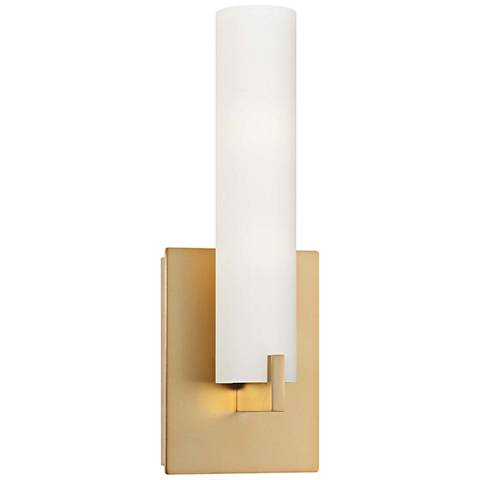 "George Kovacs Tube 13 1/4"" High Honey Gold LED Wall Sconce"