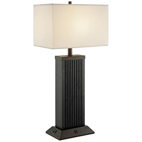 Lite Source Darrion Black Wood Table Lamp