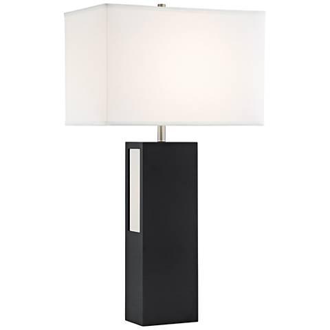 Lite Source Moulton Black Wood Table Lamp w/ LED Night Light