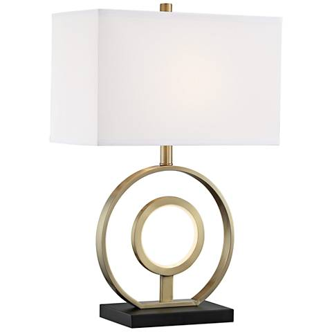 Rossini Antique Brass Metal Table Lamp w/ LED Night Light