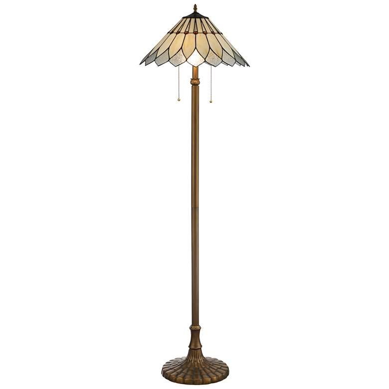 Lite Source Lavena Antique Brass Tiffany Style Floor Lamp