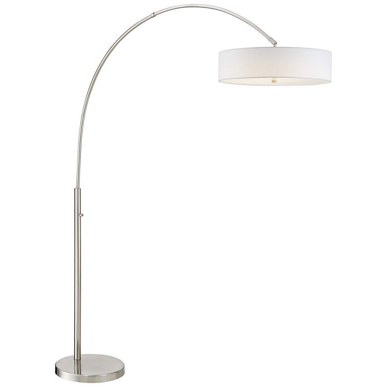 Wilkerson Brushed Nickel LED Arc Floor Lamp with White Shade