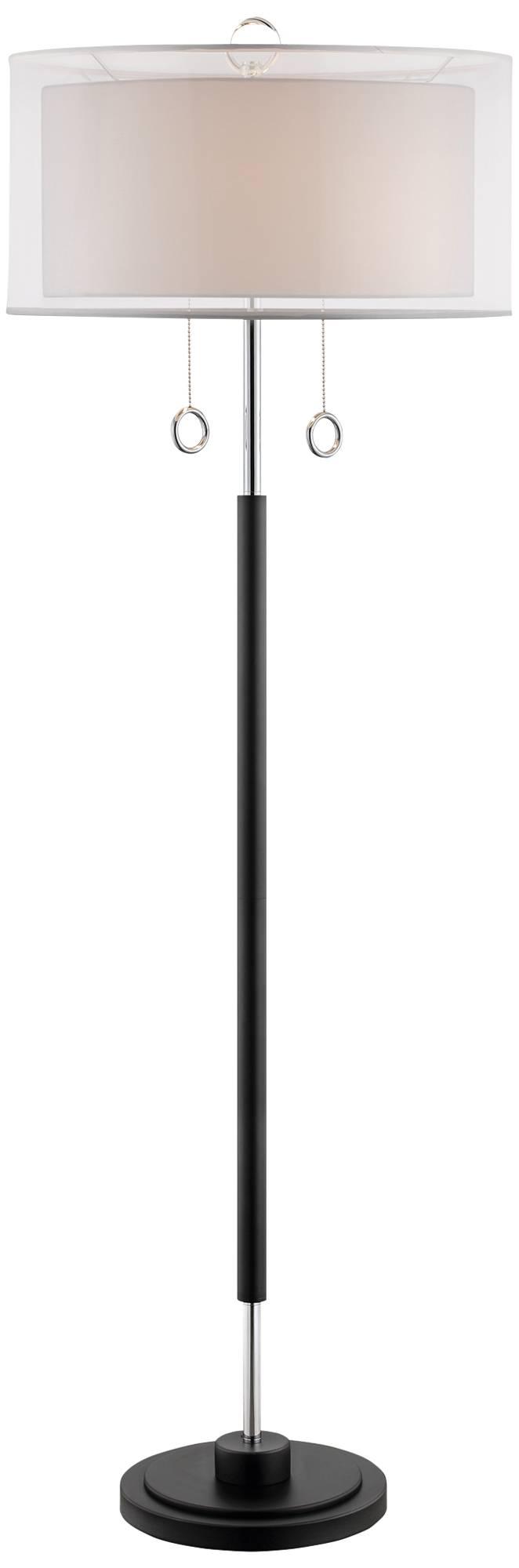 Sonneman Zylinder Chrome And Black Floor Lamp H0616