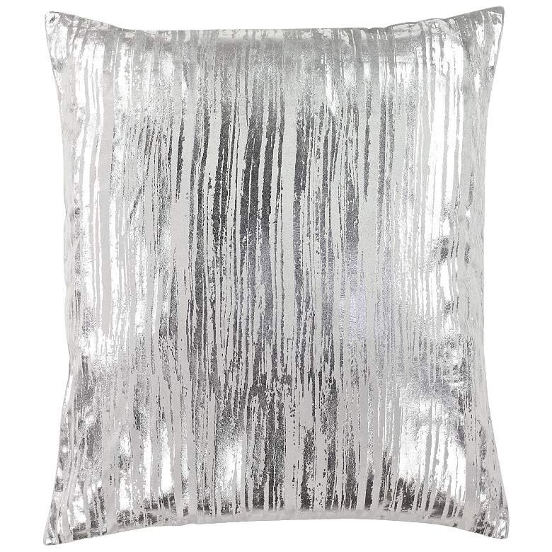 "Silver Metallic 26"" Square Viscose Velvet Throw Pillow"