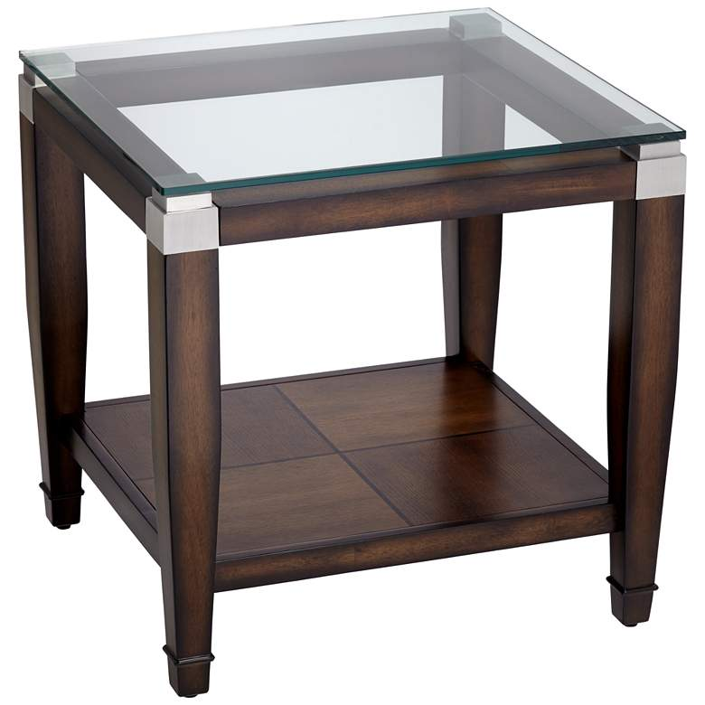 """Barrett 24"""" Wide Brown Oak and Clear Glass End Table"""