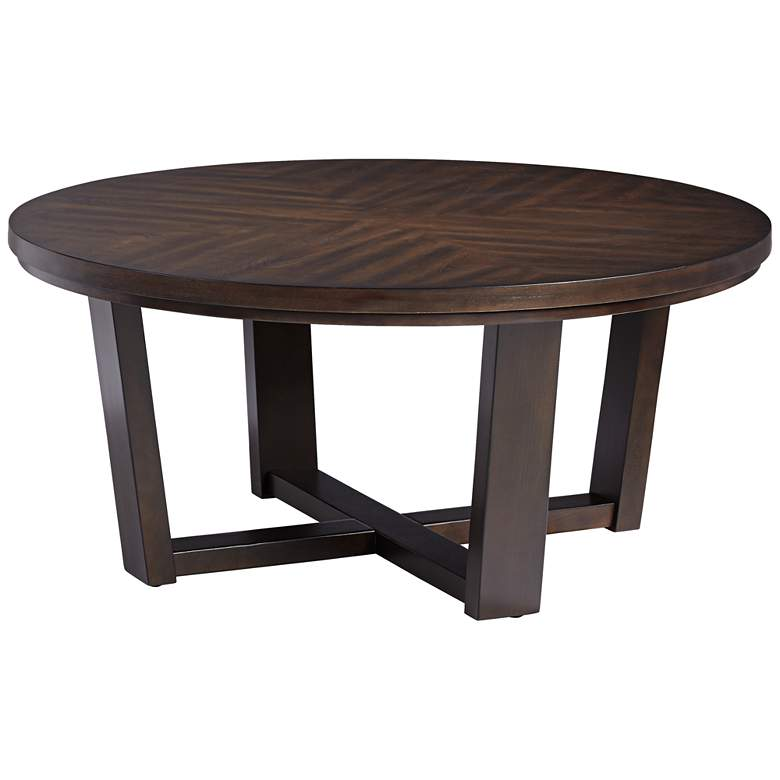 "Conrad 40"" Wide Dark Brown Wood Round Coffee Table"