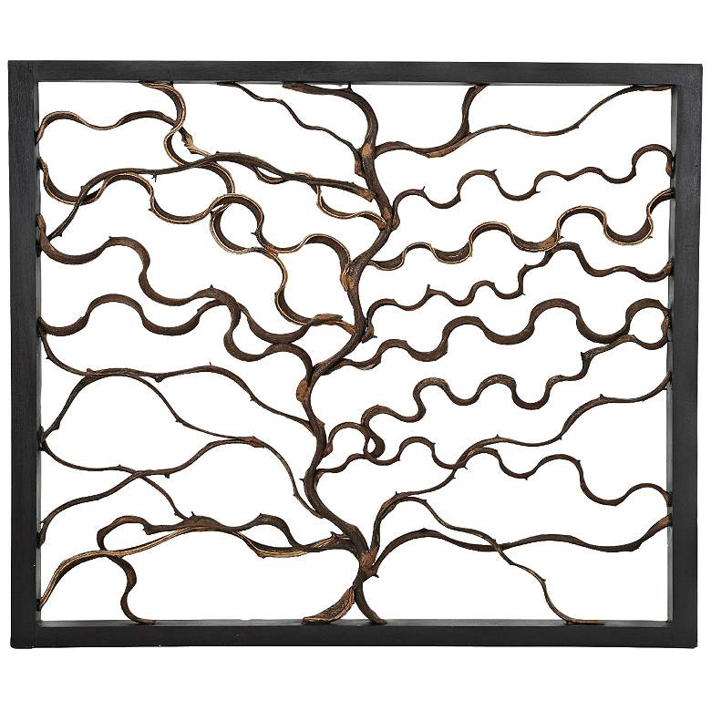 """Branching Textured Brown 35"""" Square Wall Art"""