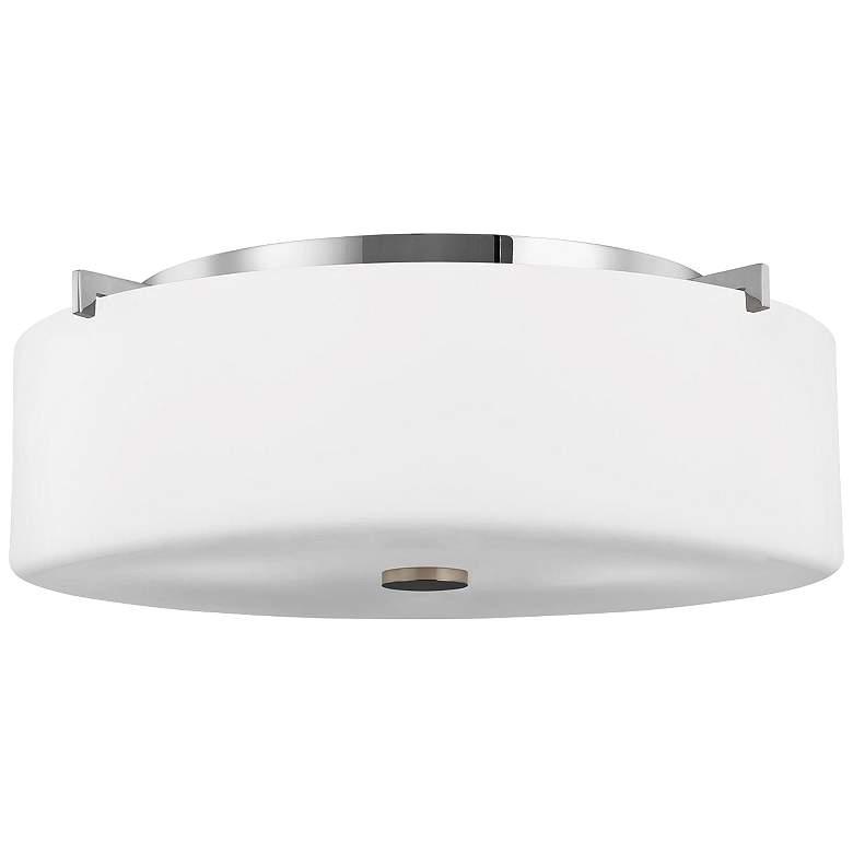 """Feiss Sunset Drive 16"""" Wide Chrome Flushmount Ceiling Light"""