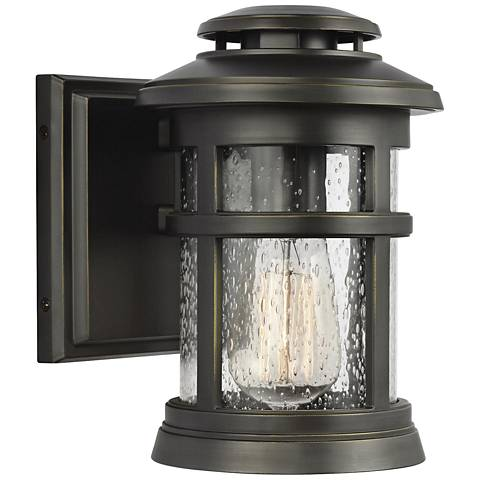 """Feiss Newport 9"""" High Antique Bronze Outdoor Wall Light"""