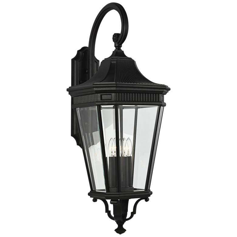 """Cotswold Lane 36 1/4""""H Black and Beveled Glass Wall Light"""