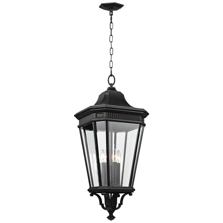 "Cotswold Lane 31"" High Black and Beveled Glass Hanging Light"