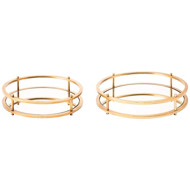 Zuo Gold Mirrored Tray Set Of 2