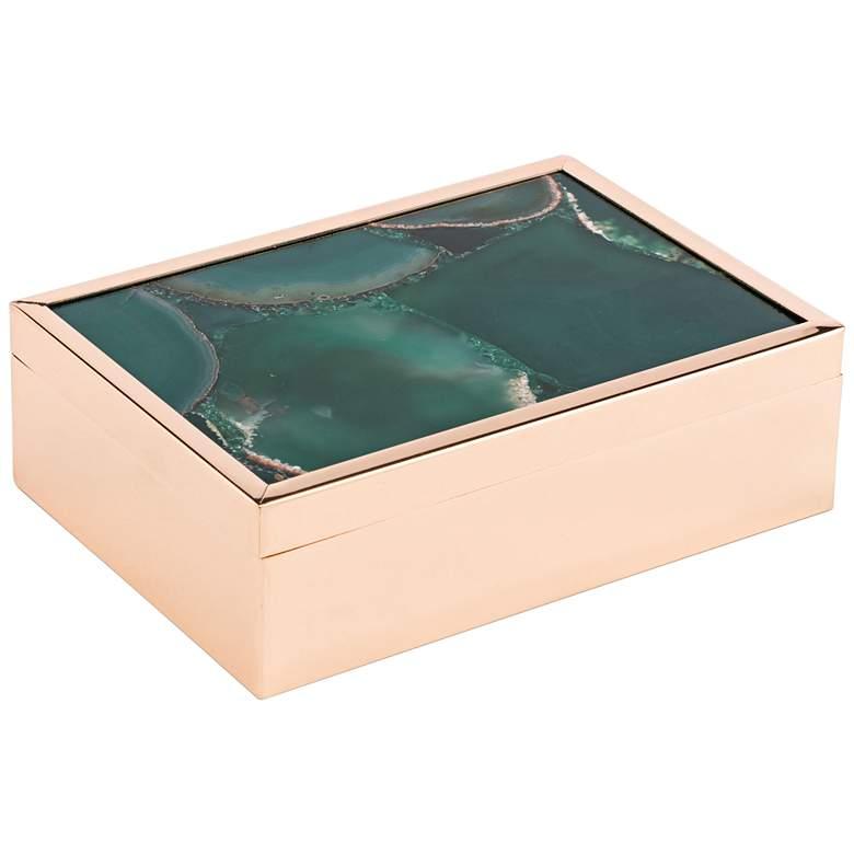 """Zuo 7 3/4"""" Wide Large Green Stone Keepsake Box"""