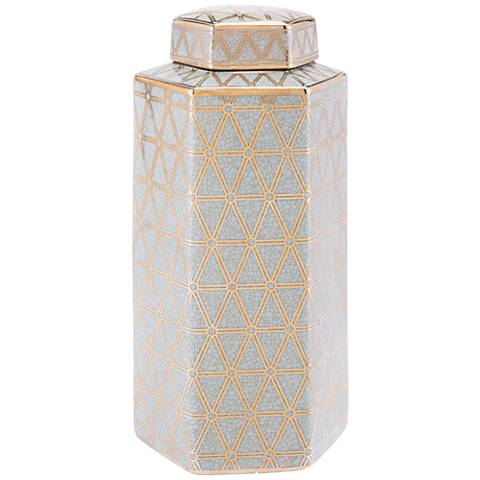 """Zuo Link Gold and Blue 15 1/4"""" High Large Covered Jar"""