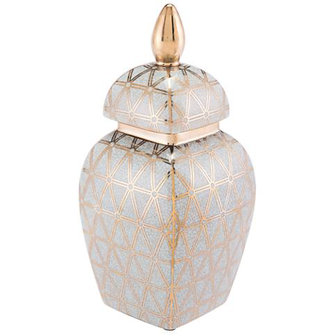 """Zuo Link Gold and Blue 13"""" High Small Temple Jar"""