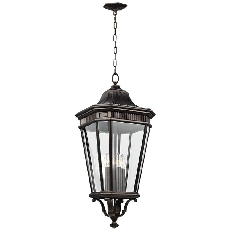 """Cotswold Lane 31""""H Bronze and Beveled Glass Hanging Light"""