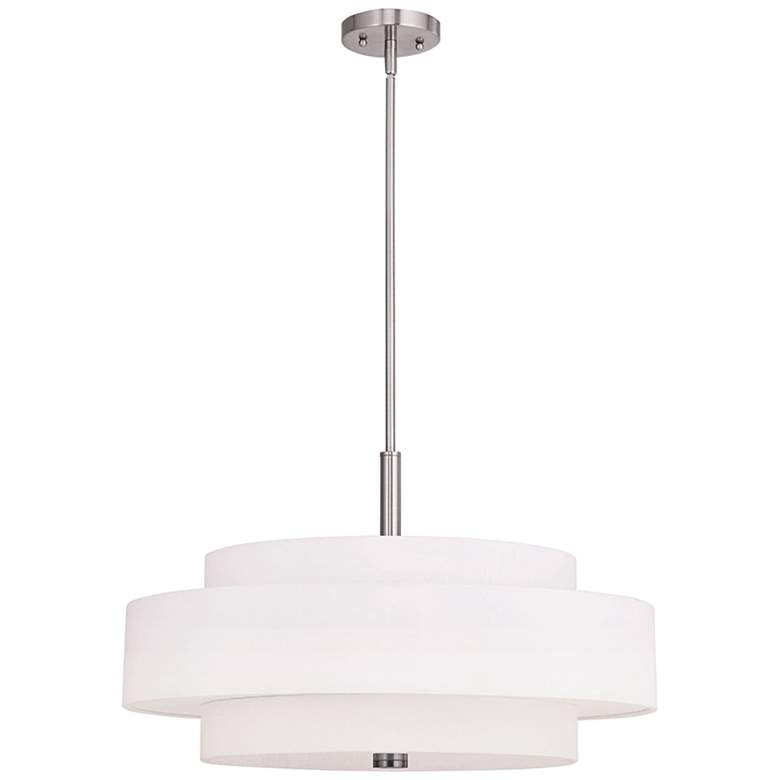"Meridian 24"" Wide Brushed Nickel Pendant Light"