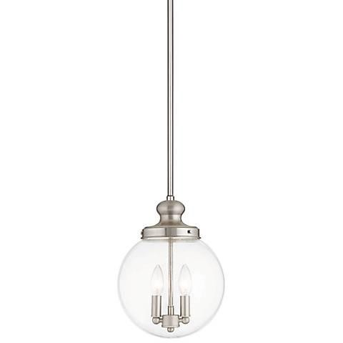 "Sheffield 10"" Wide Brushed Nickel 2-Light Mini Pendant"