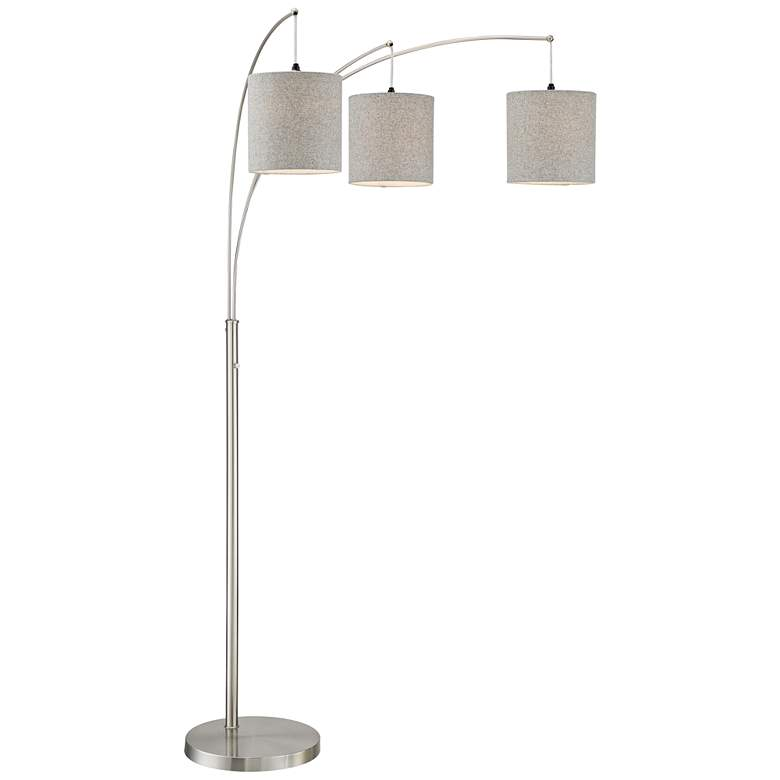 Norlan Brushed Nickel 3-Light Arc Floor Lamp with Gray Shade