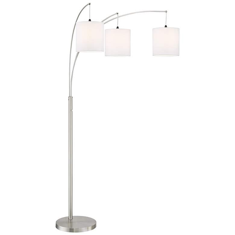 Norlan Brushed Nickel 3-Light Arc Floor Lamp w/ White Shade