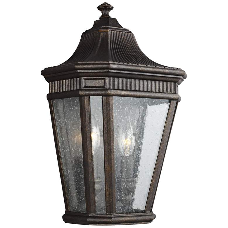 """Cotswold Lane 16""""H Seeded Glass Bronze Outdoor Wall Light"""
