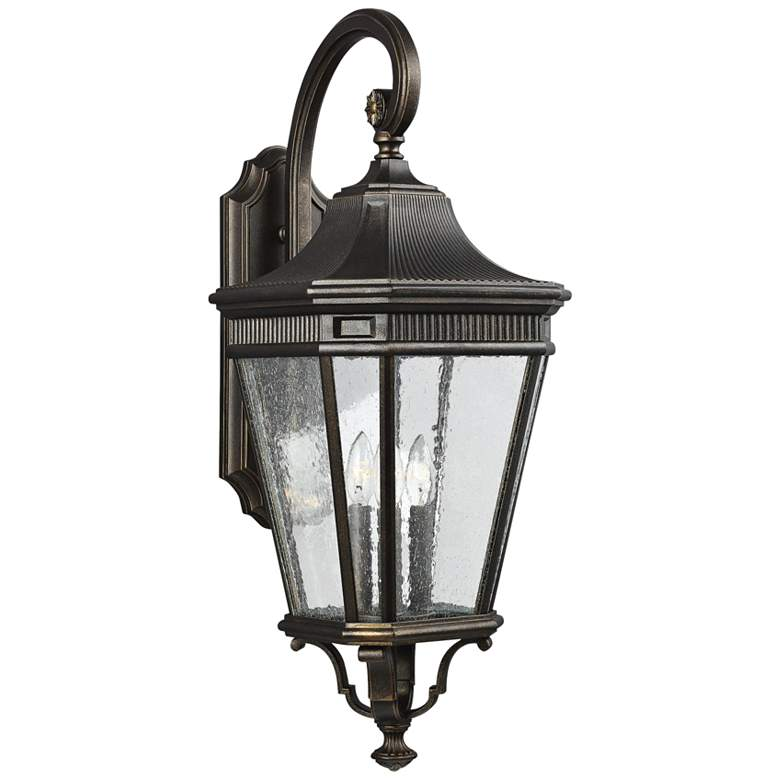 """Cotswold Lane 30""""H Seeded Glass Bronze Outdoor Wall Light"""