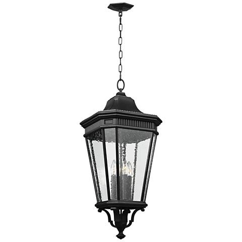 """Cotswold Lane 31""""H Seeded Glass Black Outdoor Hanging Light"""