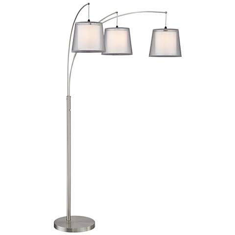 Norlan Brushed Nickel 3 Light Arc Floor Lamp W Double Shade