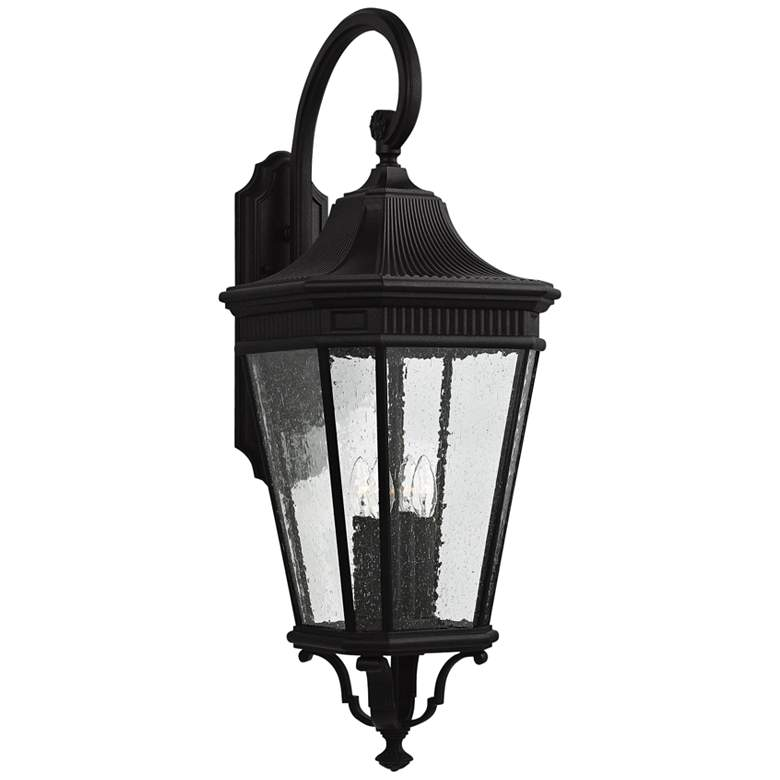 """Cotswold Lane 36 1/4""""High Black and Seeded Glass Wall Light"""