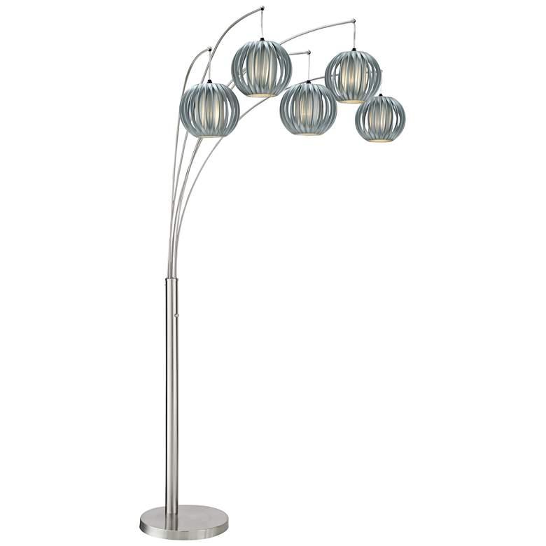Bowery Brushed Steel Adjustable Arc Floor Lamp 12w13