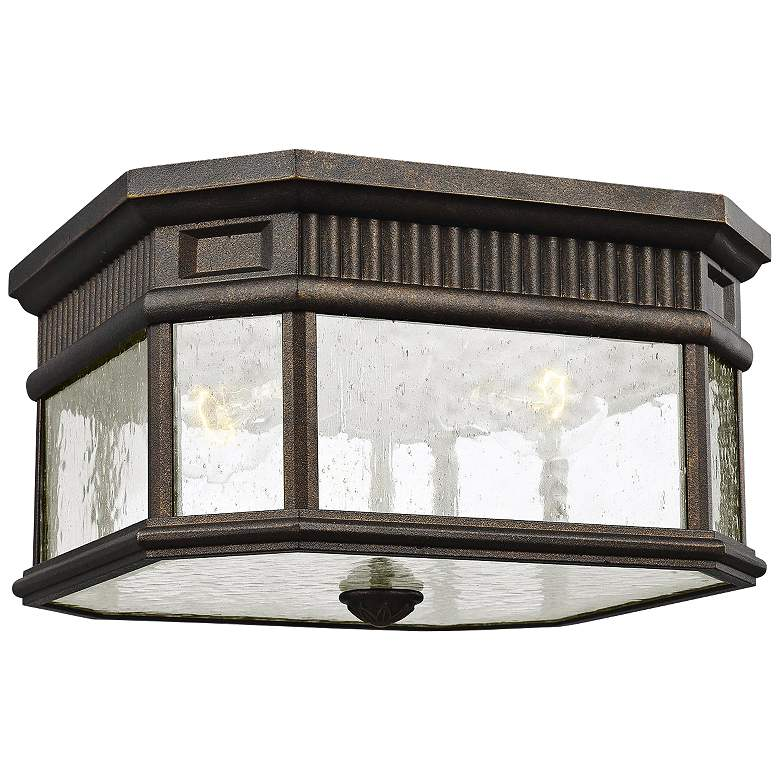 """Cotswold Lane 11 1/2""""W Bronze and Seeded Glass Ceiling Light"""