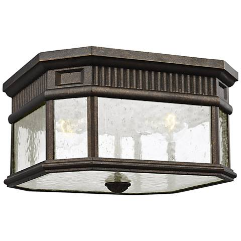 "Cotswold Lane 11 1/2""W Bronze and Seeded Glass Ceiling Light"