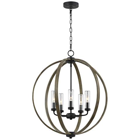 "Allier 28"" High Wood-Iron Outdoor Hanging Chandelier Light"