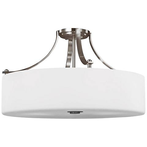 """Feiss Sunset Drive 22"""" Wide Brushed Steel Ceiling Light"""
