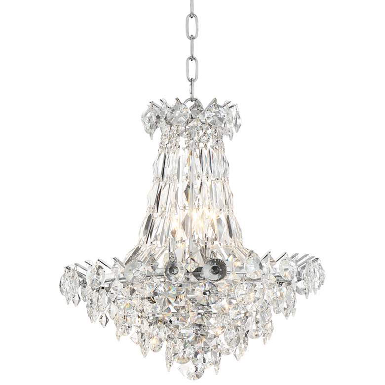 """Cascade 19"""" Wide Chrome and Crystal Chandelier"""