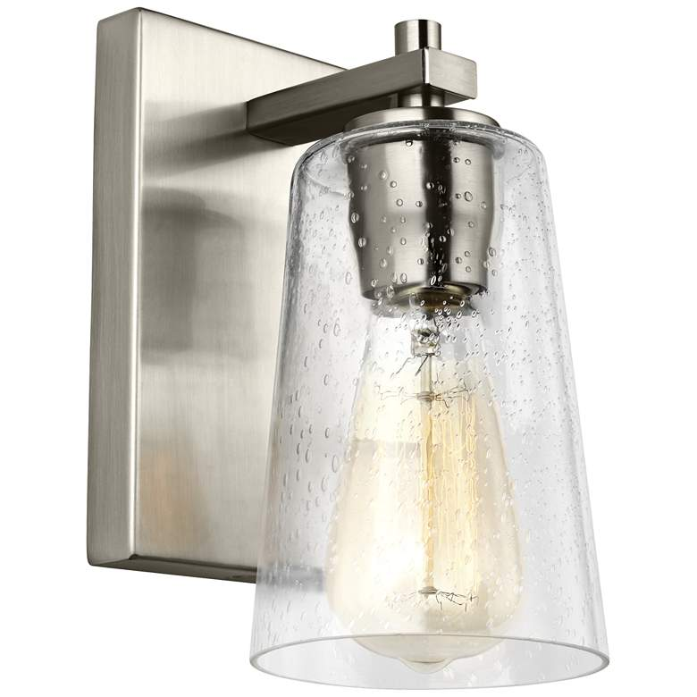 "Feiss Mercer 9"" High Satin Nickel Wall Sconce"