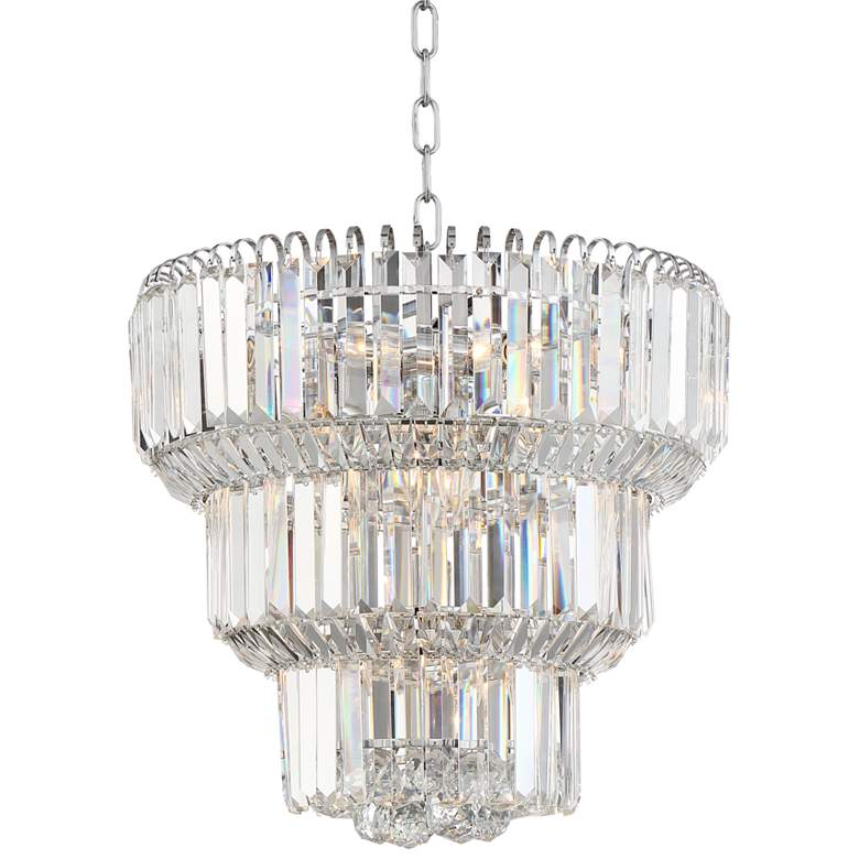 """Valeria 18"""" Wide Chrome and Crystal Chandelier"""