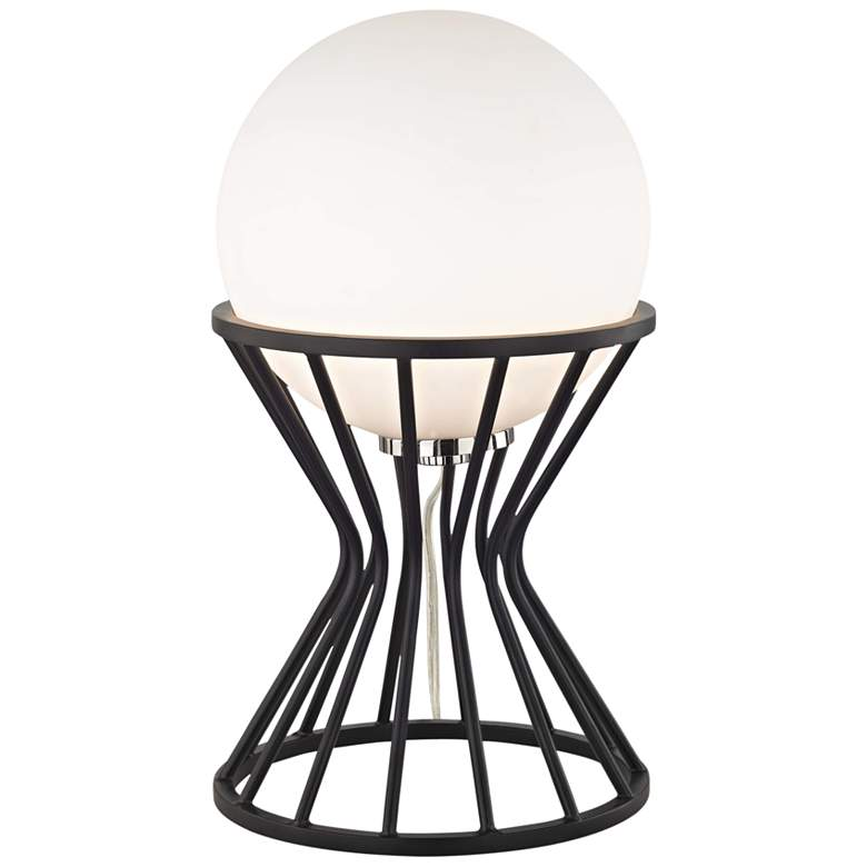"""Mitzi Petra 13 3/4"""" High Nickel and Black Accent Table Lamp"""