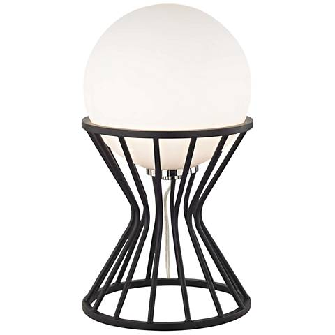 "Mitzi Petra 13 3/4"" High Nickel and Black Accent Table Lamp"