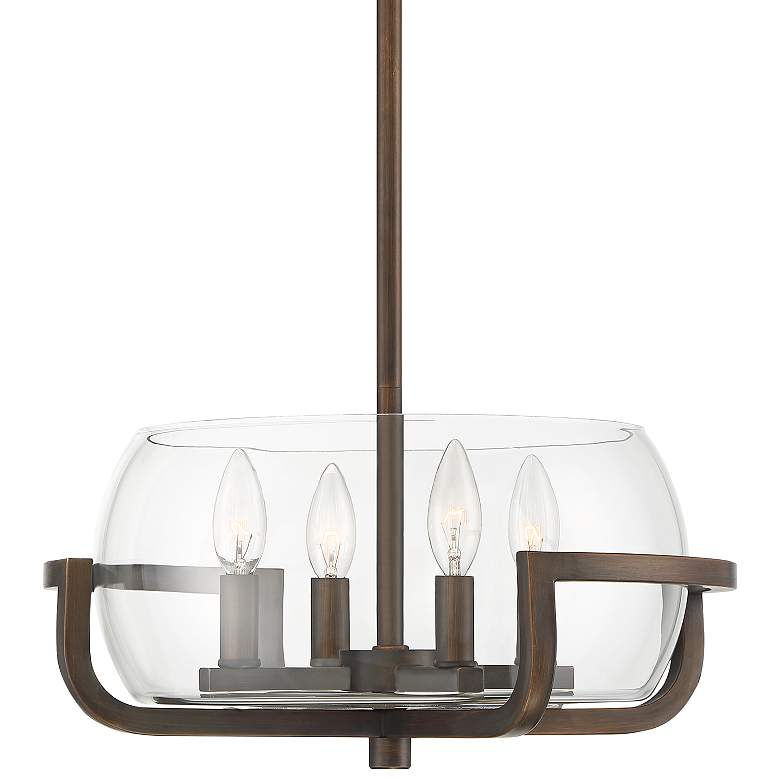 "Cavanaugh 16"" Wide Bronze and Clear Glass 4-Light Pendant"