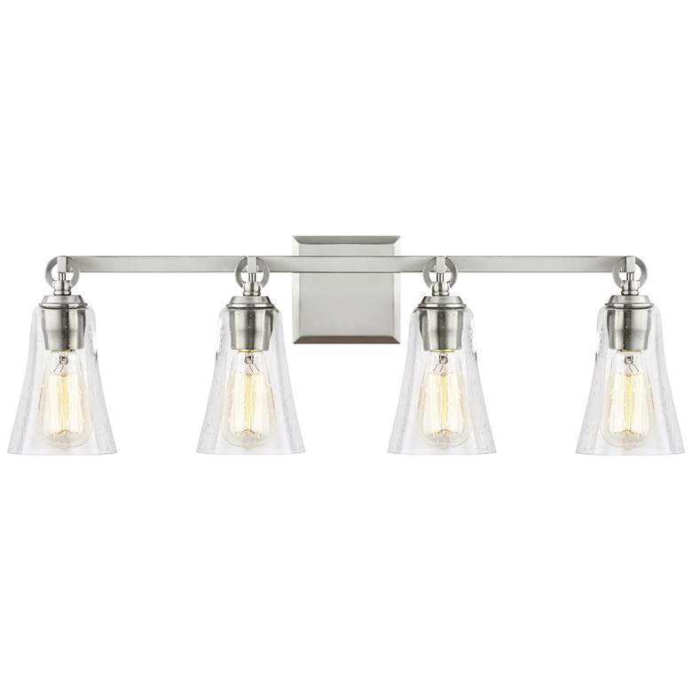 "Feiss Monterro 30 1/4"" Wide Satin Nickel 4-Light Bath Light"