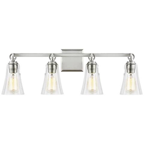 "Feiss Monterro 30 1/4"" Wide Satin Nickel 4-Light Bath Light"