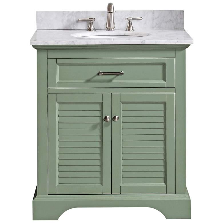 "Colton 31""W Carrara Marble Basil Green Single Sink"