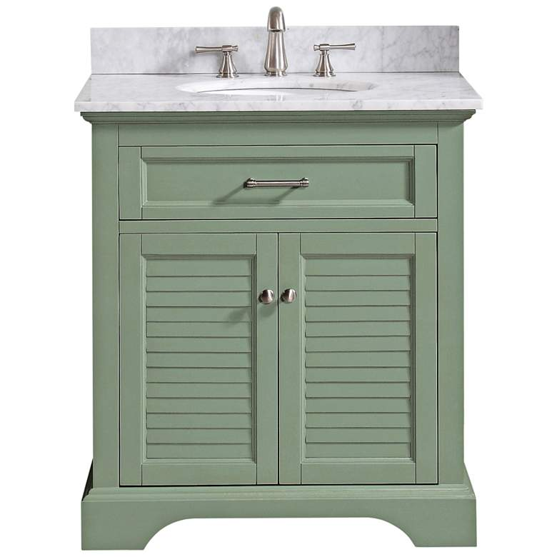 "Colton 31""W Carrara Marble Basil Green Single Sink Vanity"