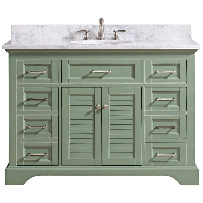 "Colton 49""W Carrara Marble Basil Green Single Sink"