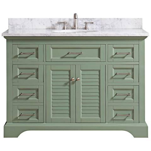 "Colton 49""W Carrara Marble Basil Green Single Sink Vanity"