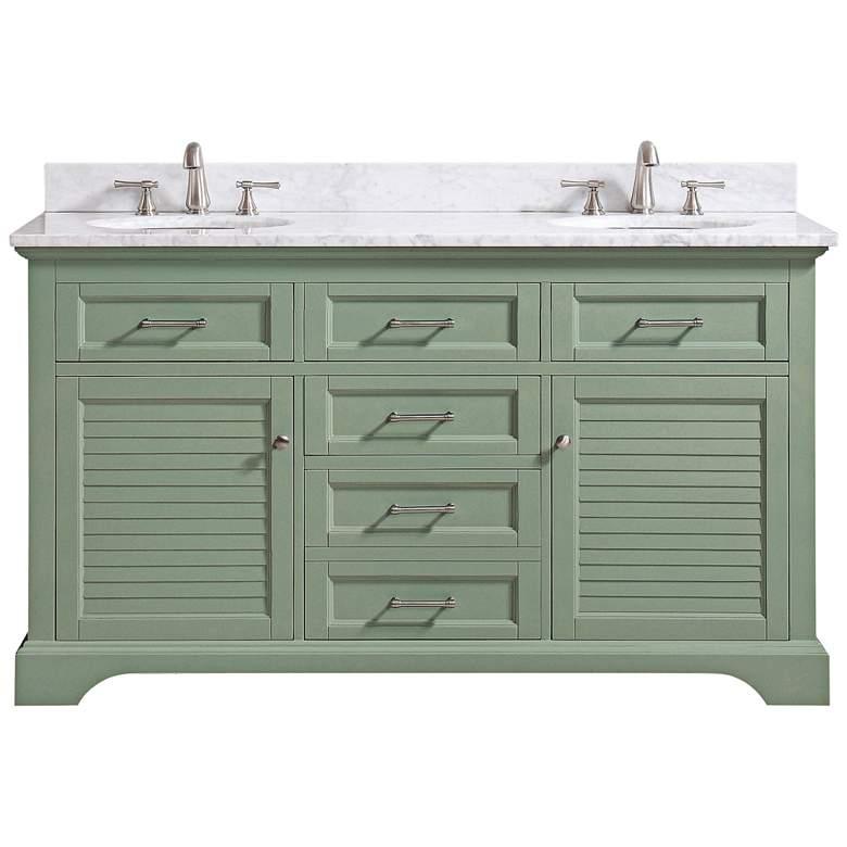 "Colton 61""W Carrara Marble Basil Green Double Sink"