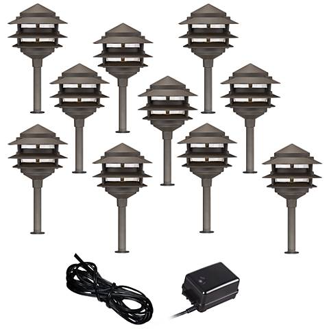 Pagoda 12-Piece Complete Outdoor LED Landscape Lighting Set