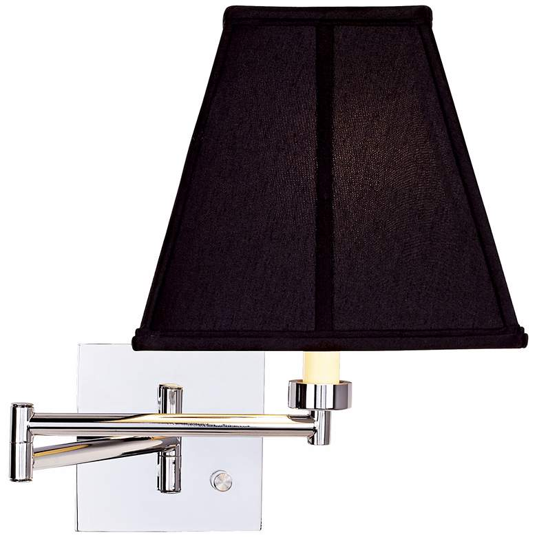 Dimmable Interior Square Black Shade Plug-In Swing Arm Wall Lamp