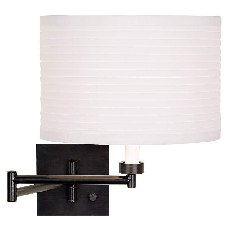Dimmable White Horizontal Pleat Shade Bronze Plug-In Swing Arm